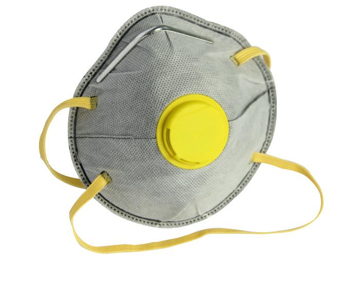 4层FFP2活性碳杯形防护口罩带呼吸阀